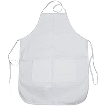 """Amazon.com: Adult White Apron with Pocket 20""""x28"""" - Pack"""