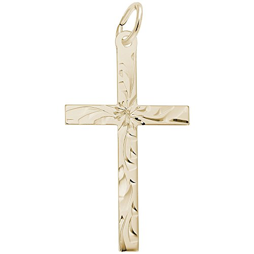 Rembrandt Charms, Diamond Cut Cross, 22k Yellow Gold Plated Silver
