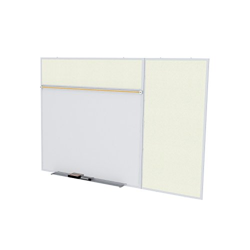 Ghent 4 x 8 Feet Combination Board, Porcelain Magnetic Whiteboard and Vinyl Fabric Bulletin Board, Ivory , Made in the USA by Ghent