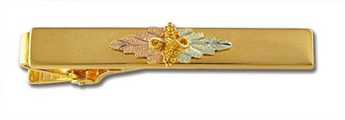 Gold Tone Leaf Clip - Landstroms Black Hills Tie Bar, Gold Tone Base Metal with 10k Gold Leaves - OT546