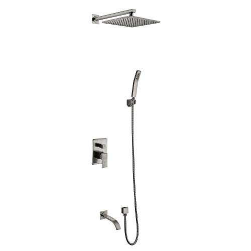 Bath And Shower Mixer - Dalang Shower Faucet System Mixer With Bathtub Spout Brass 8 Inch Square Showerhead High Pressure Rainfall Wall Mounted Faucet Set Ceramic Valve Two Handles Five Holes Nickel Brushed Finish