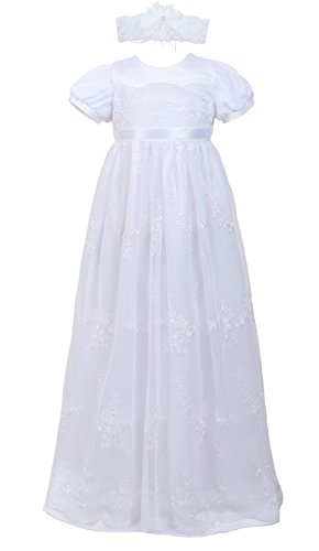 Baby Girls Newborn Christening Embroidered Gown Dress Outfit with Headband,0-12M ()