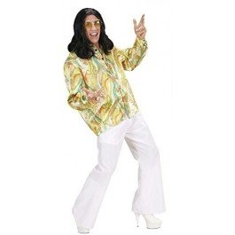 Mod Hippie Dress - 70s Mod Shirt 3 Cols Costume Large For 1970's Disco Hippy Hippie Fancy Dress