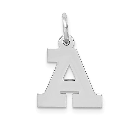 14k White Gold Small Block Initial Monogram Name Letter A Pendant Charm Necklace Fine Jewelry Gifts For Women For Her