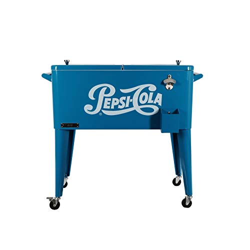 Best Review Of Permasteel 80 Quart Portable Rolling Patio Party Cooler with Pepsi Logo