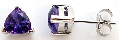 14K Solid White Gold Trillion cut Genuine AAA Amethyst Stud Earrings (Solid Earrings Trillion)