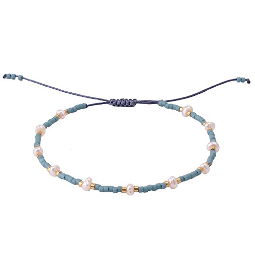 KELITCH Simple Tiny Layering Synthetic-Freshwater-Pearls Seed Bead Friendship Bracelet - Blue -