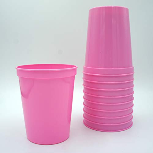 10 Pack - 16 oz Reusable Plastic Stadium Cups - Blank, Reusable or Disposable Unbreakable Tumblers Perfect for Any Party/Fiesta, or Customizable for Marketing and DIY Projects (Pink) ()