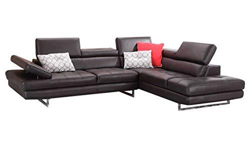 J and M Furniture 1785522-RHFC A761 Italian Leather Sectional Slate Coffee
