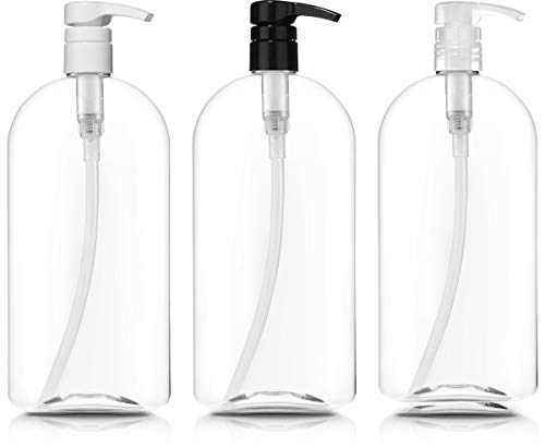 Empty Oval Bottle Set with Pumps, Large 1L/32 oz, for Shampoo, Conditioner, Body Wash, Hair Gel, Liquid Soap, Lotions & Massage -