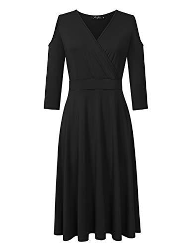 Shoulder 3/4 Sleeve Dress - AMZ PLUS Women's Plus Size 3/4 Sleeve Cold Shoulder Flowy Casual Maxi Dress Black XL