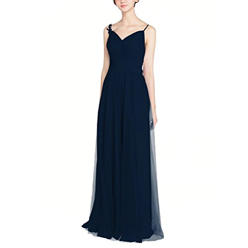 Zafee-Freely V-Neck Spaghetti Straps Appliques Long Tulle Beach Wedding Prom Ball Gown Bridesmaid Dresses Dark Nevy US20