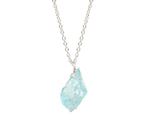 - Raw Aquamarine Gemstone Natural Crystal Pendant Necklace Dainty Jewelry 925 Sterling Silver Chain