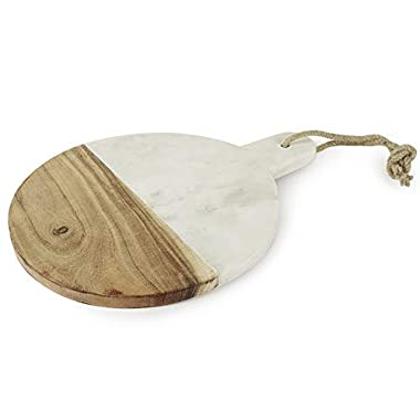Marble and Wood Rectangular Cutting Board, 15 x 6 inches - Serving Chopping Board