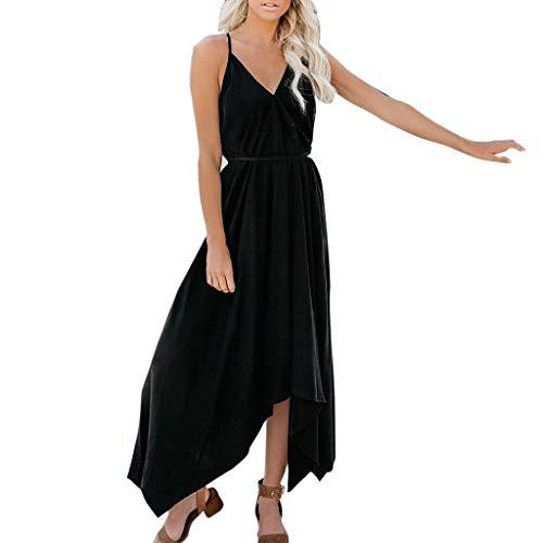 (Womens Dress V Neck Sleeveless Dress Backless Solid Lace Dress Irregular Loose Long Maxi Tank Dress Black)