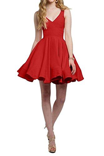 Abendkleider Partykleider Heimkehr Rot Cocktailkleider Ausschnitt La V Einfach Marie Mini Violett Tanzenkleider Braut qw7cwZz