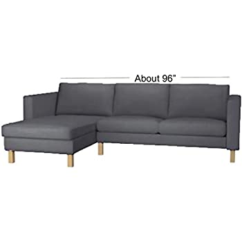 Durable Dense Cotton Karlstad Loveseat (Two Seat)  Sofa with Chaise Lounge Sectional Cover Replacement. Cover Only! Custom Made For Ikea Karlstad ...