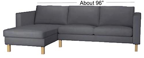 Durable Dense Cotton Karlstad Loveseat ( Two Seat ) Sofa with Chaise Lounge Sectional Cover Replacement. Cover Only! Custom Made For Ikea Karlstad Slipcovers. (Dark Gray)