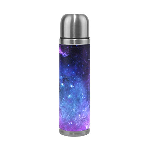 (Wamika Purple Blue Galaxy Vacuum Insulated Travel Water Bottle, Star Space Double Wall Stainless Steel Sports Coffee Mug Cup Christmas Birthday Gifts for Mom Dad Kids Students )