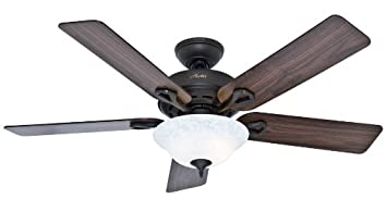 Hunter Indoor Ceiling Fan with light and pull chain control – Kensington 52 inch, New Bronze, 53048