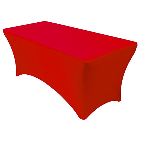 Your Chair Covers Spandex 6 Ft Rectangular Stretch Tablecloth - Red