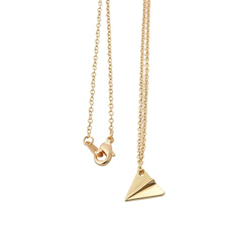 - Tiny Simple Plane Necklaces Rose Gold Silver Plated Necklace Paper Aircraft Airplane Jewelry (Gold)