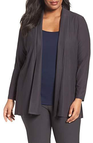 Eileen Fisher Stretch Crepe Shawl Collar Draped Cardigan Jacket, Plus Size 2X - Gray