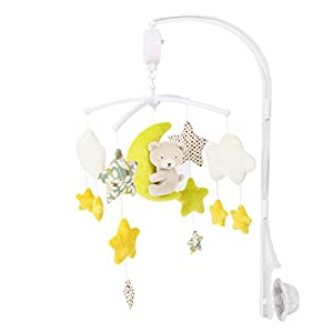 GOODNIGHT BABY Decoration Animal Bed Hanging Toy for Newborn Gift Lullabies Plush Musical Crib Mobile for Infants Bassinets (Yellow Bear)