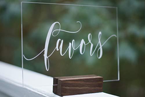 Favors Acrylic Calligraphy Sign | Wedding Shower Reception Restaurant | Glass Like Clear Modern Formal Elegant Vintage Rustic | Placard Card | Lettering Script Handwriting Print | Cedar and Ink (Best Elegant Script Fonts)