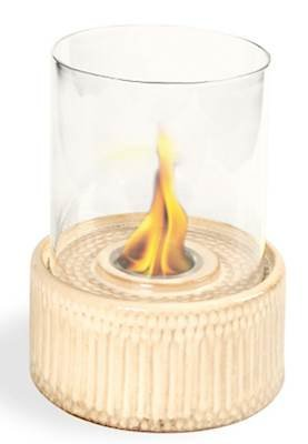 Ivory Gel Fuel Fireplace - Pacific Decor Ceramic Table Fireplace, Ivory Sand