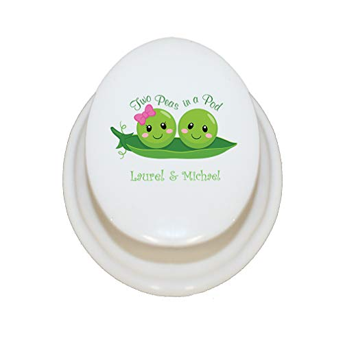 Personalized Custom Text Inspiration Two Peas in a Pod Porcelain Treasure Box Porcelain Jewerly Box - - Porcelain Necklace Oval