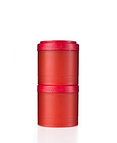 BlenderBottle ProStak Twist n Lock Storage Jars Expansion 2-Pak with Pill Tray, Red