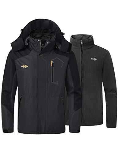Wantdo Men's 3 in 1 Mountain Waterproof Ski Jacket Winter Snowboarding Coat Rain Jacket