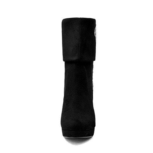 Allhqfashion Womens Pu Frosted Ronde Gesloten Teen Mid-calf High-heels Laars Zwart