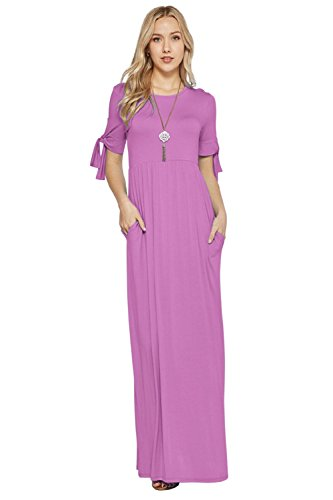 Maxi Dresses for Women Tie Sleeve Solid Lightweight Long Rayon Spandex W/Pocket -Lilac ()