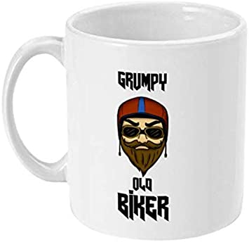 Taza de café con texto en inglés «Grumpy Old Biker» – Regalo perfecto para el motociclista – regalo para novio – regalo para hijo – regalo para marido
