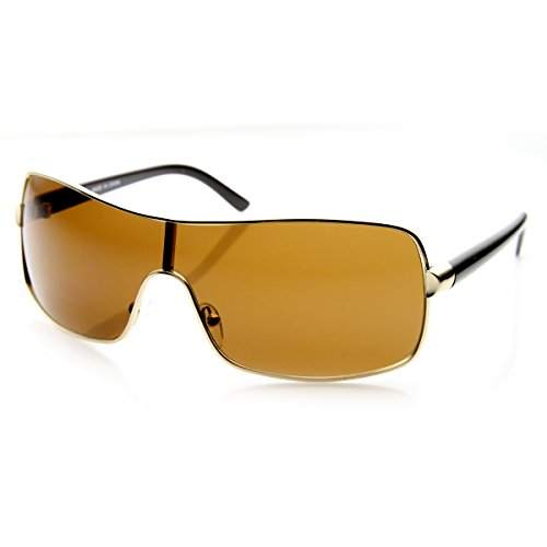 [zeroUV - Modern Fashion Mono Lens Wraparound Shield Sunglasses (Gold Brown)] (Gold Wrap Around Sunglasses)