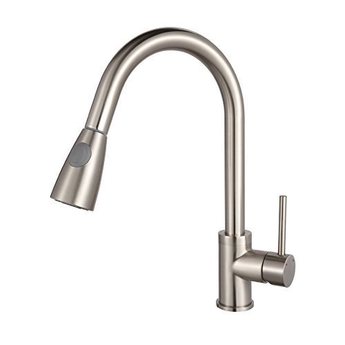B & Y ?Stainless Steel Single Handle Pull Out Modern Kitchen Sink Faucet, Brushed Nickel by B&Y by B&Y