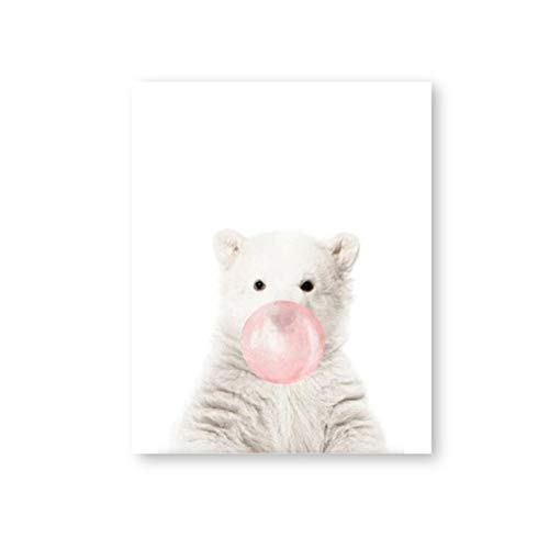 HYFBH Wall Art Pink Bubble Gum Polar Bear Posters Canvas Painting Pictures Prints Kids Room Decor Painting-60x80cm No Frame (Polar Bear Pictures)