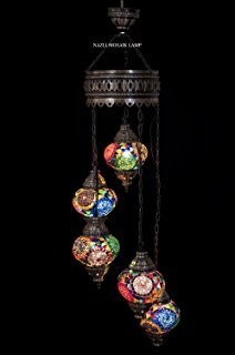 Chandelier, Ceiling Lights, Turkish Lamps, Hanging Mosaic Lights, Pendant, White Glass, Color Glass, Moroccan Lantern, 5 Bulbs, Express Shipping