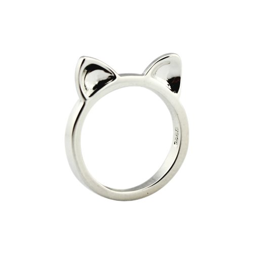 ELBLUVF 925 Sterling Silver Simple Animal Cute Cat Ears Shape Cat Ring for Women Jewelry US7]()