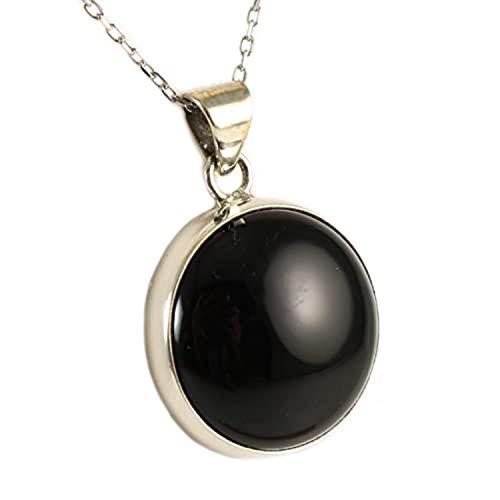 Petite Cabochon Black Onyx 925 Sterling Silver Pendant Necklace