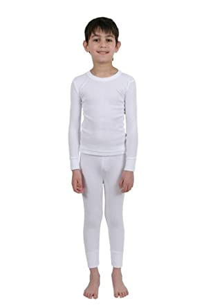 Boys Thermal Underwear - Long Sleeve Vest & Long Pants - White ...