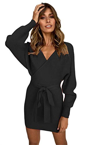 r Dress Sexy V Neck Wrap Belted Batwing Long Sleeve Slim Knitted Mini Dress Black ()