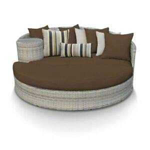 (JumpingLight TKC Fairmont Round Patio Wicker Daybed in Dark Brown Durable and Ideal for Patio and Backyard)