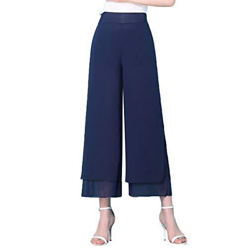 - E.JAN1ST Women's Chiffon Palazzo Pants High Waist Solid Lined with Split Lounge Pants, NavyBlue, Tagsize4XL=USsize2XL