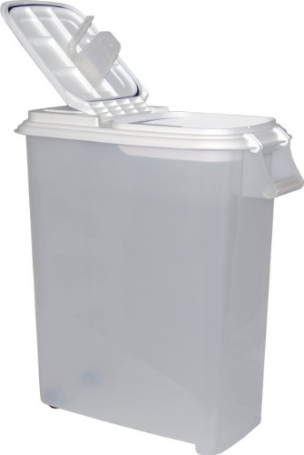 Buddeez XXLarge (80QT) Fresh Dry Dog & Cat Food Plastic Storage Container With Locking Flip Lid,  Measuring Scoop (1 Cup) and Wheels For Kibble, Bird Seed, Rice and Bulk ()