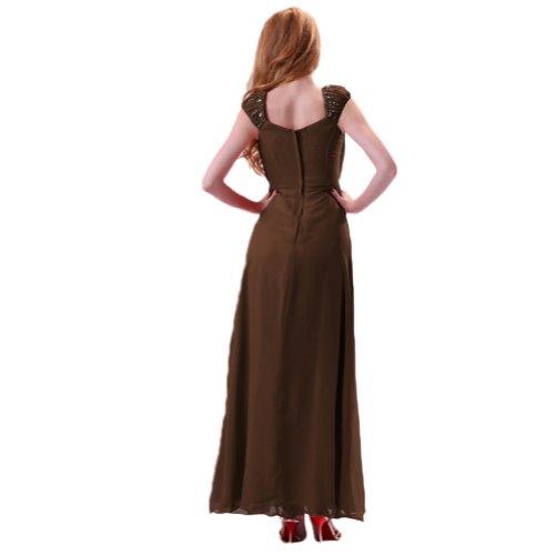 sera intera da una lunghezza Sunvary Chiffon spalla sera Maxi Marrone elegante in abito HTvUnFq