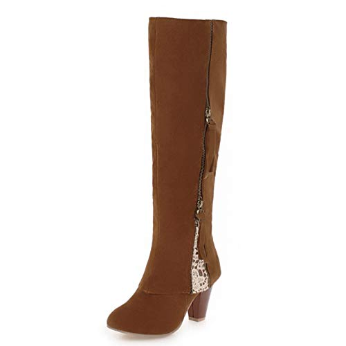 Large Sizes 34-44 Women's Shoes Woman Boot Winter Knee-High Boots Woman Retro Leisure Shoes Brown ()