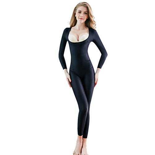 Ninery Ave Full Body Shaper Seamless Bra Lift Shapewear Long Sleeve Bodysuits (Black-No Breasted, 2XL)